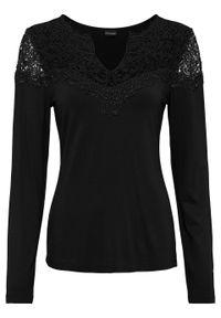 Shirt z długim rękawem i koronką bonprix czarny. Kolor: czarny. Materiał: koronka. Długość rękawa: długi rękaw. Długość: długie. Wzór: koronka