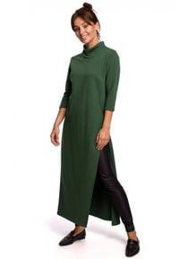 BE - Długa tunika z wysokim kołnierzem i rozcięciem zielona. Kolor: zielony. Materiał: dzianina, bawełna. Długość: maxi