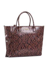 Brązowa torebka klasyczna Wittchen na ramię, w kolorowe wzory