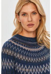 MAX&Co. - Sweter. Okazja: na co dzień. Kolor: niebieski. Materiał: dzianina. Długość rękawa: raglanowy rękaw. Wzór: ze splotem. Styl: casual