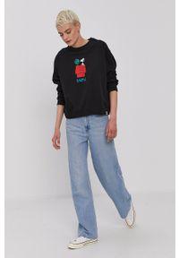 Element - Bluza bawełniana x Peanuts. Kolor: czarny. Materiał: bawełna. Długość rękawa: długi rękaw. Długość: długie. Wzór: nadruk