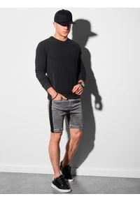 Ombre Clothing - Bluza męska bez kaptura B1156 - czarna - XXL. Typ kołnierza: bez kaptura. Kolor: czarny. Materiał: dresówka, dzianina, poliester, jeans, bawełna