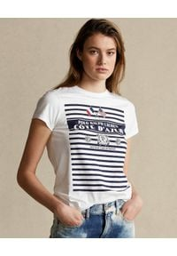 Ralph Lauren - RALPH LAUREN - Biała koszulka w paski. Typ kołnierza: polo. Kolor: biały. Wzór: paski