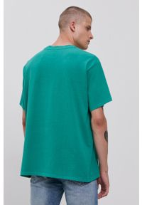 Levi's® - Levi's - T-shirt bawełniany. Okazja: na spotkanie biznesowe. Kolor: zielony. Materiał: bawełna. Wzór: nadruk. Styl: biznesowy