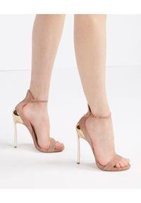 Casadei - CASADEI - Różowe sandały na szpilce Techno Blade Quuen. Zapięcie: pasek. Kolor: różowy, wielokolorowy, fioletowy. Materiał: zamsz. Wzór: aplikacja. Obcas: na szpilce. Wysokość obcasa: średni