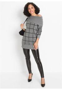 Długi sweter bonprix szary melanż - czarny w kratę. Kolor: szary. Długość: długie. Wzór: melanż