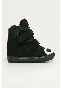 Czarne buty zimowe Mrugała z cholewką, na rzepy