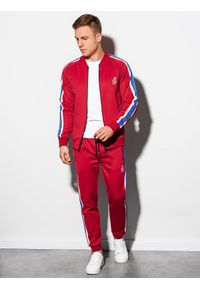 Czerwona bluza Ombre Clothing bez kaptura, retro