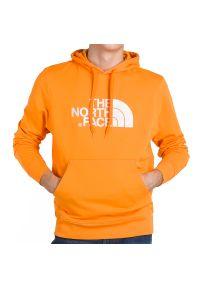 Pomarańczowa bluza The North Face z kapturem, sportowa