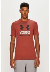 Czerwony t-shirt Under Armour z okrągłym kołnierzem, na co dzień, z nadrukiem