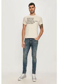 Niebieski t-shirt s.Oliver z nadrukiem, casualowy