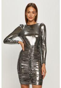 TALLY WEIJL - Tally Weijl - Sukienka. Kolor: srebrny. Materiał: dzianina. Długość rękawa: długi rękaw. Wzór: gładki. Typ sukienki: dopasowane