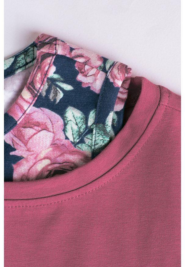 Różowa bluzka z długim rękawem COCCODRILLO z nadrukiem, z okrągłym kołnierzem