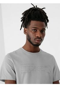 4f - T-shirt męski. Kolor: szary. Materiał: dzianina, bawełna