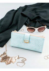 MILANO DESIGN - Portfel damski slim wallet niebieski Milano Design K1211. Kolor: niebieski. Materiał: skóra ekologiczna