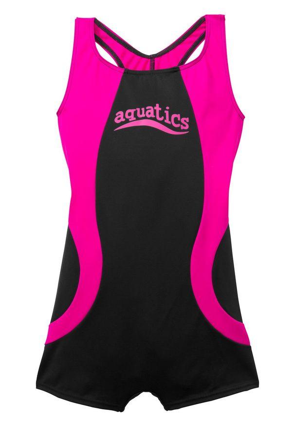 Kostium kąpielowy dziewczęcy bonprix czarno-różowy. Kolor: czarny. Materiał: poliester, poliamid, materiał, elastan