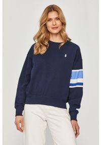 Polo Ralph Lauren - Bluza. Typ kołnierza: polo. Kolor: niebieski. Długość rękawa: długi rękaw. Długość: długie. Wzór: nadruk