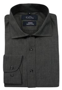 Szara elegancka koszula Chiao z aplikacjami, długa, do pracy, z długim rękawem