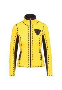 Żółta kurtka narciarska Rossignol z napisami