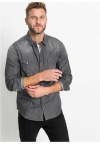 Koszula dżinsowa Slim Fit, długi rękaw bonprix Koszula dżins SF sz.den. Kolor: szary. Długość rękawa: długi rękaw. Długość: długie