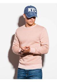 Ombre Clothing - Bluza męska bez kaptura B978 - brzoskwiniowa - XXL. Okazja: na co dzień. Typ kołnierza: bez kaptura. Kolor: pomarańczowy. Materiał: bawełna, materiał, poliester. Styl: klasyczny, casual