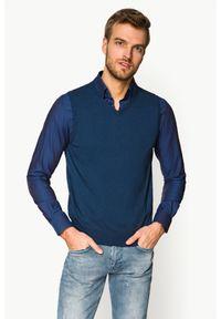 Lancerto - Bezrękawnik Jeans Edwin. Okazja: na co dzień. Kolor: niebieski. Materiał: jeans. Długość rękawa: bez rękawów. Styl: klasyczny, casual