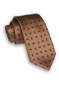 Alties - Brązowy Stylowy Klasyczny Męski Krawat -ALTIES- 7cm, Szeroki, Karmelowy, w Paisley, Łezki. Kolor: beżowy, brązowy, wielokolorowy. Materiał: tkanina. Wzór: paisley. Styl: klasyczny, elegancki