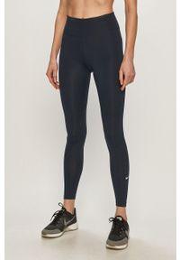 Niebieskie legginsy Nike z podwyższonym stanem, gładkie