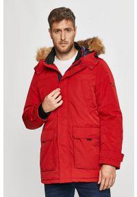 Czerwona kurtka Cross Jeans casualowa, na co dzień, z kapturem