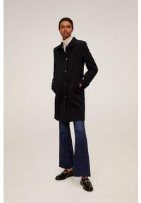 Czarny płaszcz mango bez kaptura, na co dzień