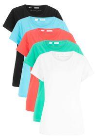 Shirt z okrągłym dekoltem (5 szt.), krótki rękaw bonprix błękit laguny + zielony oceaniczny + łososiowy + biały + czarny. Kolor: niebieski. Materiał: jersey. Długość rękawa: krótki rękaw. Długość: krótkie