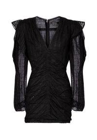 ISABEL MARANT - Czarna sukienka z haftem Getya. Kolor: czarny. Wzór: haft. Długość: mini