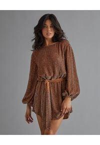 RETROFETE - Sukienka z cekinami Grace. Kolor: brązowy. Długość rękawa: długi rękaw. Wzór: aplikacja. Długość: mini