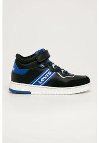 Czarne buty sportowe Levi's® na spotkanie biznesowe, na rzepy