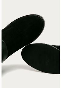 Czarne botki Pepe Jeans z okrągłym noskiem, na zamek, z cholewką, bez obcasa