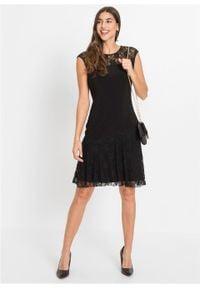 Sukienka z dżerseju z koronką bonprix czarny. Okazja: na imprezę. Kolor: czarny. Materiał: jersey, koronka. Wzór: koronka. Styl: elegancki #5