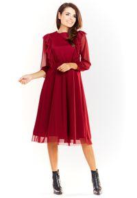e-margeritka - Sukienka tiulowa elegancka bordowa - xl. Typ kołnierza: kołnierz z falbankami. Kolor: czerwony. Materiał: tiul. Wzór: aplikacja. Styl: elegancki. Długość: midi