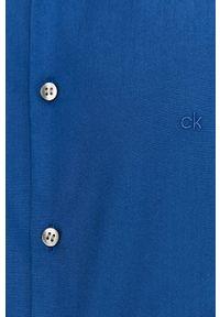 Niebieska koszula Calvin Klein z klasycznym kołnierzykiem, długa, casualowa