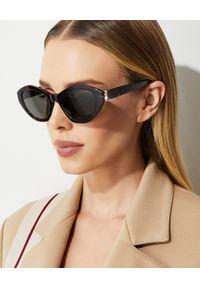 SAINT LAURENT - Marmurkowe okulary przeciwsłoneczne. Kolor: brązowy. Materiał: nylon