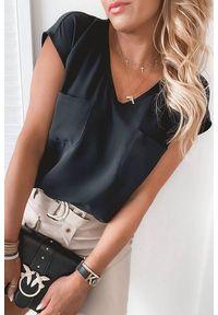 Czarna bluzka IVET elegancka, w kolorowe wzory