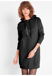 Sukienka dresowa z kapturem bonprix czarny. Typ kołnierza: kaptur. Kolor: czarny. Materiał: dresówka