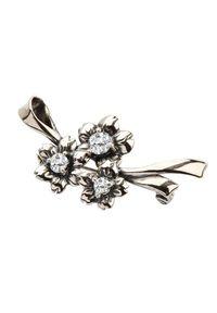 Polcarat Design - Broszka srebro z cyrkoniami B 121. Materiał: srebrne. Wzór: kwiaty, aplikacja. Kamień szlachetny: cyrkonia