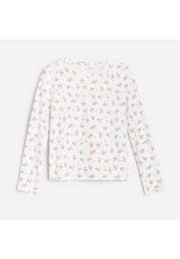 Kremowa bluzka z długim rękawem Reserved w kwiaty