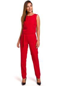 Czerwony kombinezon MOE elegancki, w koronkowe wzory