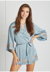 Saintmiss - Peniuar japoński // Grâce - Uniwersalny, Niebieski. Kolor: niebieski. Materiał: satyna, materiał, koronka. Długość: krótkie. Wzór: koronka