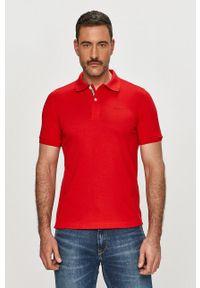 Czerwona koszulka polo Geox casualowa, krótka, gładkie