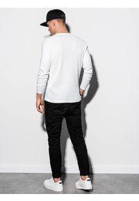 Ombre Clothing - Longsleeve męski bez nadruku L119 - biały - XXL. Kolor: biały. Materiał: bawełna, tkanina, poliester. Długość rękawa: długi rękaw #3