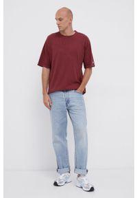 Champion - T-shirt bawełniany. Kolor: czerwony. Materiał: bawełna. Wzór: gładki, aplikacja