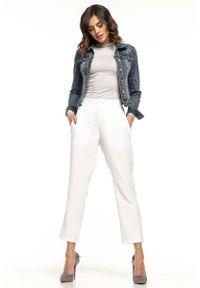 Białe spodnie z wysokim stanem Tessita eleganckie