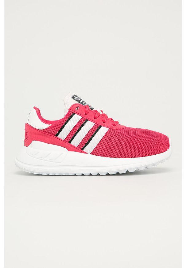 Różowe buty sportowe adidas Originals z cholewką, na sznurówki, z okrągłym noskiem